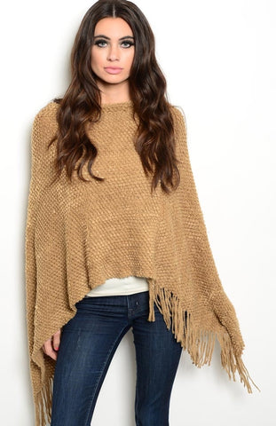 Decorative-Knit Poncho