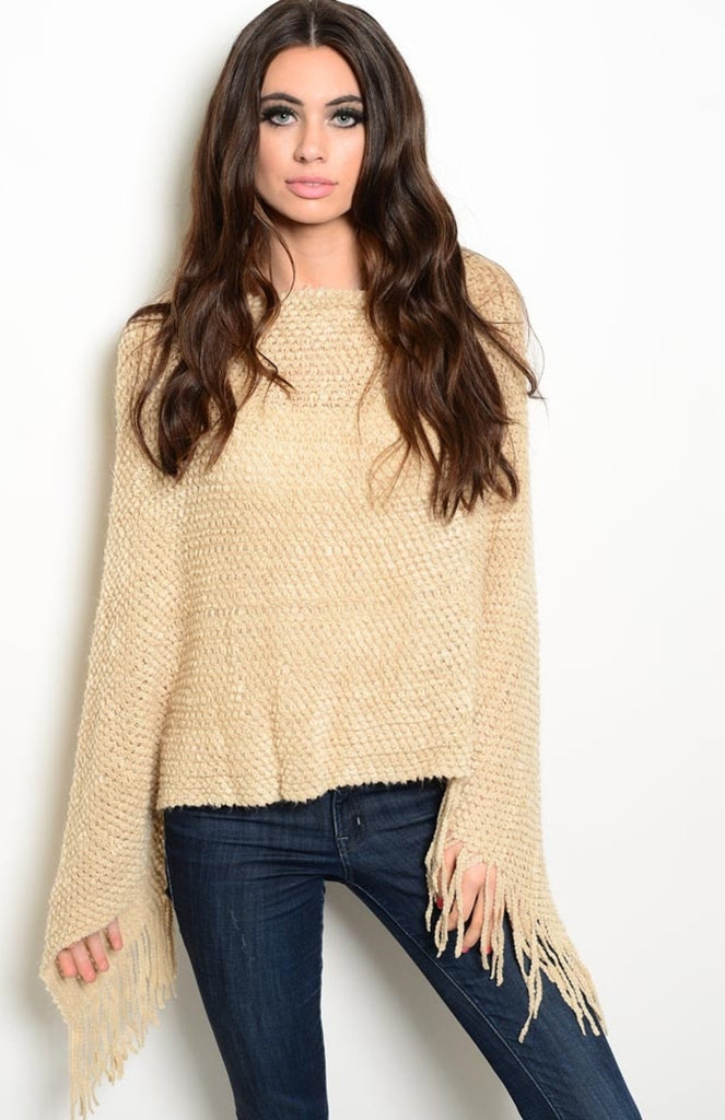 Decorative-Knit Poncho | 30% Off First Order | Beige