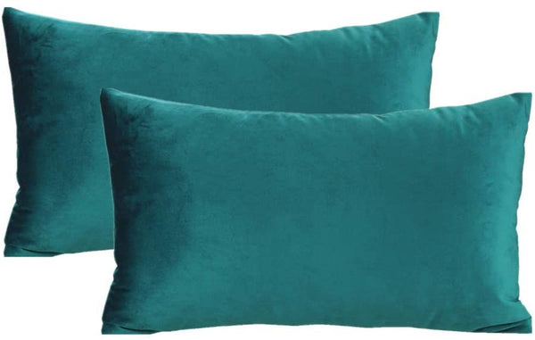 12x20 Teal Throw Pillow Covers Lumbar Velvet Decorative Rectangle Soft Solid Cozy Cushion Cases Home Decor for Couch Sofa Bedroom Living Room Set of 2