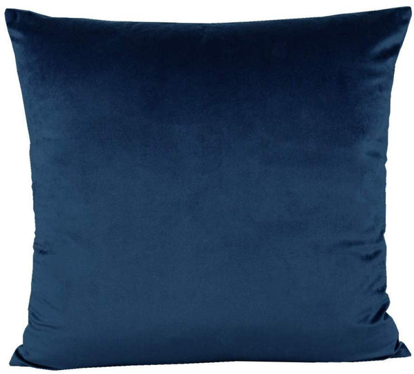 20x20 Inch Dark Blue Velvet Throw Pillow Covers Cases Decorative Soft Solid Square Home Decor for Couch Sofa Bedroom Car Set of 2