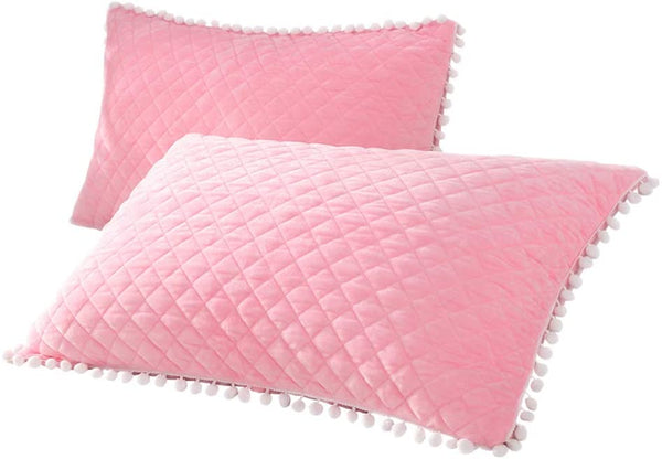 YOUHAM 2 Pack Solid Pom Ball Fringe Bed Pillowcases Grid Velvety Shams Standard Queen Size, Pink