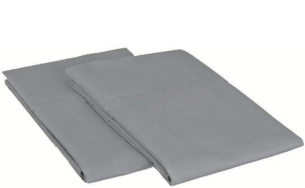 "Chenille Linen Hotel Quality 1 Pair Pillow Cases 100% Egyptian Cotton 400 Thread Count Solid Pattern Standard (20"" X 26"") in Light Grey Color"