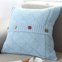 "DONEUS Cable Knitted Pillow Case Cushion Cover Decorative Knitting Patterns Square Warm Throw Pillow Cover with Zipper Concealed(Navy,18"" x 18"")"