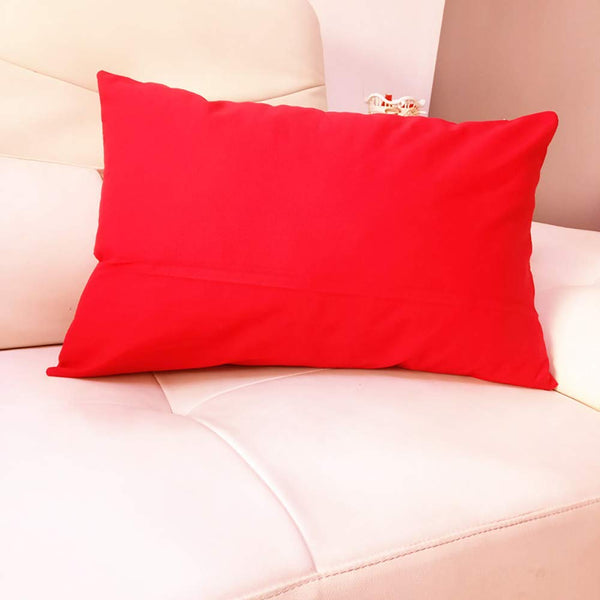 4-Pack Cotton Comfortable Solid Decorative Throw Pillow Case Rectangle Cushion Cover Pillowcase for Lumbar (Cover Only,No Insert) (12x20inch/30x50cm, Red)