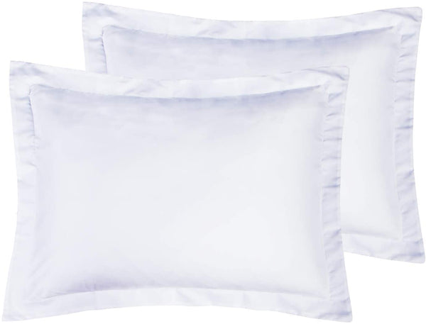 Crown Collection American Size Set of 2pcs Pillow Case 650 Thread Count Cal-King/Emperor 20x40 Inch Size Export Quality White Solid Egyptian Cotton (White, King/Cal-King 20x40)