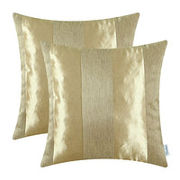 CaliTime Pack of 2 Cushion Covers Throw Pillow Cases Shells for Couch Sofa Home Decoration Modern Shining & Dull Contrast Striped 18 X 18 Inches Gold