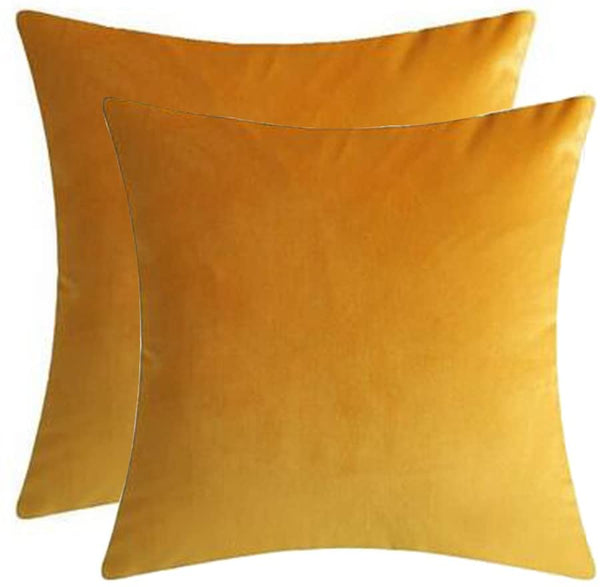 "Andreannie Set of 2 Velvet Cozy Super Soft Comfortable Solid Decorative Throw Pillow Covers Cushion Case for Sofa Living Room 20 inches Both Sides (Yellow, 2 pcs 20""x20"")"