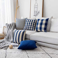 Home Brilliant Throw Pillow Covers Decorative Striped Checker Solid Square Farmhouse Pillow Covers Set for Couch Living Room, 5 Pieces, 18x18 inch (45cm), Dusk Blue