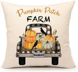 4TH Emotion Fall Pumpkin Patch Truck Throw Pillow Cover Autumn Farmhouse Market Cushion Case for Sofa Couch 18x18 Inches Cotton Linen