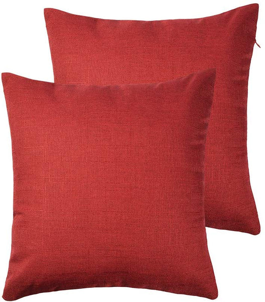 RainRoad Red Decorative Throw Pillow Cover for Sofa Couch Bedroom Car Cotton Linen Pillow Case Cushion Cover Set of 2,18 x 18Inch 45cm x 45cm (Red)