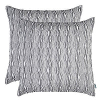 "Artcest Set of 2, Decorative Throw Pillow Case, Comfortable Solid Faux Silk Cushion Cover, Pintuck Pleated Fashion and 3D Striped, 18""x18"" (Coffee)"