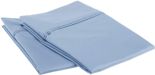 Superior 1200 Thread Count 100% Egyptian Cotton, Soft and Breathable, 2-Piece Standard Pillowcase Set Solid, Light Blue
