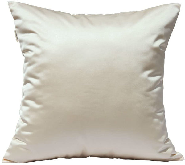 "TangDepot Solid Silky Throw Pillow Covers, Shining and Luxury Cushion Covers, Euro Shams, European Throw Pillow Covers, Indoor/Outdoor - (28""x28"", Khaki)"