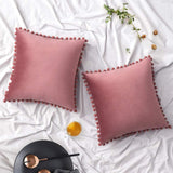 Woaboy Pack of 2 Velvet Throw Pillow Covers Pompom Decorative Pillowcases Solid Soft Cushion Covers with Poms Square Cojines for Couch Living Room Sofa Bedroom Car 18x18inch 45x45cm Jam