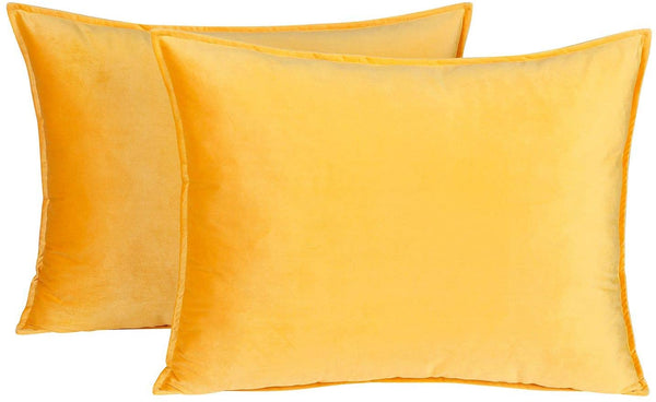 Colorxy Standard Velvet Pillow Shams - Set of 2 Decorative Throw Pillow Covers Soft Solid Pillow Case Cushion Covers for Couch, Sofa, Bedroom (20 x 26 Inch, Orange Yellow)