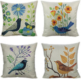 All Smiles Outdoor Patio Throw Pillow Covers Case Birds Décor Vintage Autumn Decorative Cushion Cotton Linen 18x18 Set of 4 Outside Garden Couch Sofa