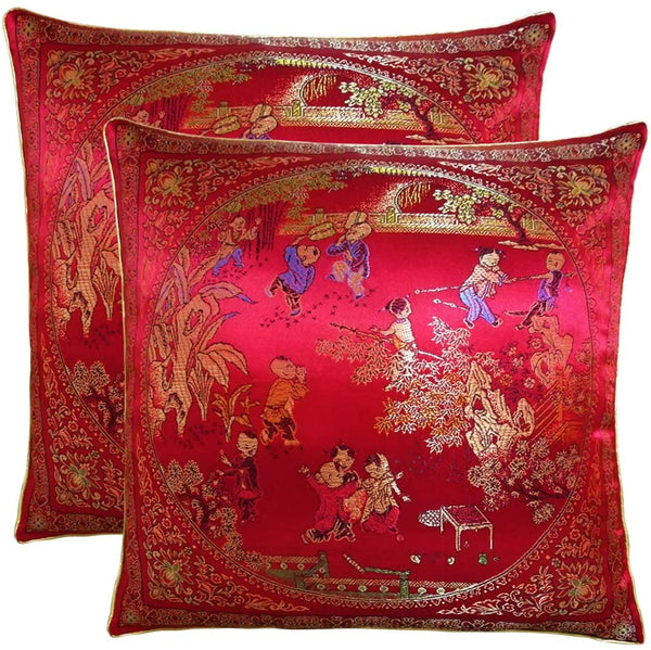 Yootop Pair Courtyard Scene Embroidered Pillowcase Silky Decorative Chinese Oriental Cushion Cover for Sofa Throw Pillow Case