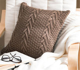 "ANDUUNI Decorative Cotton Knitted Pillow Case Cushion Cover Double-Cable Warm Throw Pillow Covers for Bed Couch 18"" X 18"""