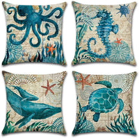 4-Pack Decorative Throw Pillow Cover 18x18, Mediterranean Ocean Coastal Beach Outdoor Pillow Cushion Cases for Couch, Sofa, Bed (W/O Insert) –Turtle Seahorse Whale Octopus