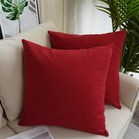 CARRIE HOME Solid Color Decorative Cotton Linen Throw Pillow Covers Red Pillow Cases for Patio Couch Sofa, 18 x 18 Inches (Red, Set of 2)