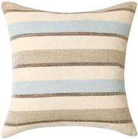 MIULEE Decorative Classic Retro Stripe Throw Pillow Covers Cotton Linen Modern Farmhouse Pillow Case Blue and Tan Cushion Case for Sofa Bedroom Car 24 x 24 Inch 60 x 60 cm