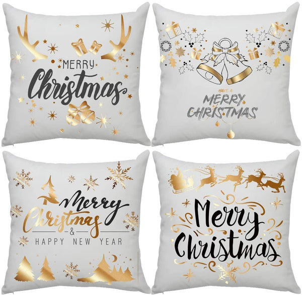 Ahier Satin Pillowcase, Gold Stamping Print Throw Pillow Covers, White Pillowcase with Hidden Zipper for Christmas 18 X 18 Inch