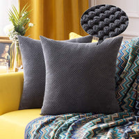 MIULEE Pack of 2 Decorative Throw Pillow Covers Soft Pellets Solid Cushion Case Dark Grey Pillow Cases for Couch Sofa Bedroom Car 18 x 18 Inch 45 x 45 cm