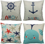All Smiles Nautical Shell Décor Throw Pillow Cases Outdoor Ocean Mediterranean Style Cushion Covers Coastal Beach Decorative 18x18 Set of 4 Outside for Couch Patio Sofa,Navy Sea Vintage Starfish