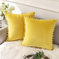 Ashler Decorative Velvet Throw Pillow Covers with Soft Particles Outdoor Pillowcases for Couch, Sofa and Bed 18 x 18 inches 45 x 45 cm, Pack of 2, Yellow