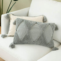 blue page Boho Neutral Decorative Throw Pillow Cover ONLY for Couch, Sofa, Bed - Cotton Woven Boho Tufted Pillow Case, Modern Design Geometric Indoor Outdoor Pillowcase (18X18 inch, Grey)