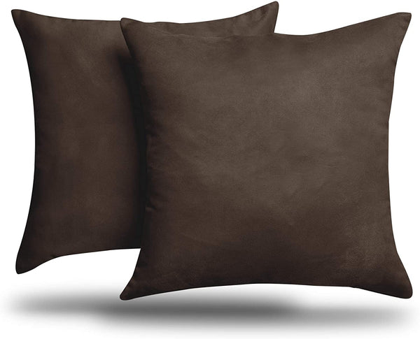 "ALEXANDRA'S SECRET HOME COLLECTION 2-Pack Solid Faux Suede Decorative Throw Pillow Cover/Sham (18"" x 18"", Brown)"