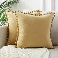Top Finel Decorative Throw Pillow Covers for Couch Bed Soft Particles Velvet Solid Cushion Covers with Pom-poms 20 x 20 Inch 50 x 50 cm, Pack of 2, Khaki