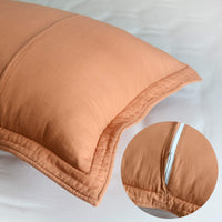 Brandream Pumpkin Orange Quilted Pillow Shams Standard Size 100% Cotton Pillow Covers Set of 2 Vintage Farmhouse Bedding
