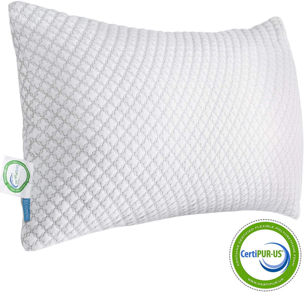 KUNPENG Shredded Memory Foam Pillows for Sleeping - Cooling Bed Pillow Hypoallergenic with Premium Washable Cover for Back Stomach Side Sleepers Firm Soft Adjustable - CertiPUR-US - Standard