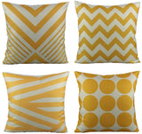 All Smiles Outdoor Patio Throw Pillow Covers Cases Indoor Furniture Decorative Cushion 18x18 Set of 4 for Home Porch Chair Couch Sofa Living Room Geometric Orange