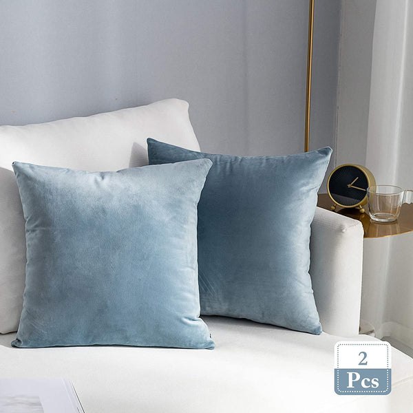 Stellhome Super Soft Decorative Velvet Cushion Covers Square Throw Pillow Covers for Bed Couch Sofa Bench, 20 x 20 inch (50 cm), Silver Blue, Pack of 2 Square Solid Throw Pillow Case