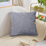 "ALHXF 2 Pack Burlap Linen Throw Pillow Cover 16""X16"" Home Decorative Solid Square Pillowcase, Thick, Luxury, Handmade with Invisible Zipper for Sofa Couch Bed, Car, Camping, Office"
