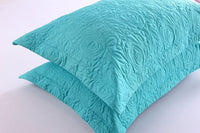 MarCielo 2-Piece Embroidered Pillow Shams, Decorative Microfiber Pillow Shams Set Standard Size Turquoise