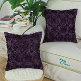 CaliTime Pack of 2 Cushion Covers Throw Pillow Cases Shells for Couch Sofa Home Solid Stereo Roses Floral 18 X 18 Inches Deep Purple