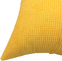 YOUR SMILE Soft Solid Throw Pillow Covers Cases for Couch Sofa Bed, Comfortable Supersoft Corduroy Corn Striped Both Sides, 18 X 18 Inches, Set of 2,Corduroy Yellow