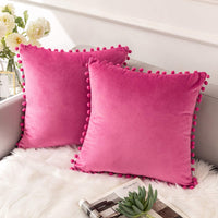 Ashler Decorative Throw Pillow Covers with Pom Poms Soft Particles Velvet Solid Cushion Covers 18 X 18 for Couch Bedroom Car, Pack of 2, Light Pink