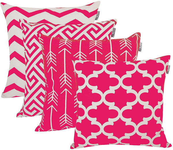 ACCENTHOME Square Printed Cotton Cushion Cover,Throw Pillow Case, Slipover Pillowslip for Home Sofa Couch Chair Back Seat,4pc Pack 18x18 in Fuschia Color