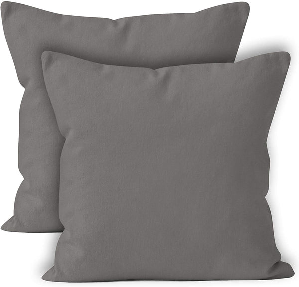 ENCASA Homes Throw Cushion Cover 2pc Set - Grey - 18 x 18 inch Solid Dyed Cotton Canvas Square Accent Decorative Pillow Case for Couch Sofa Chair Bed & Home