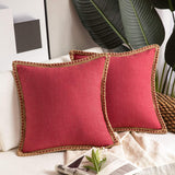 Phantoscope Pack of 2 Farmhouse Decorative Throw Pillow Covers Burlap Linen Trimmed Tailored Edges Red 18 x 18 inches, 45 x 45 cm