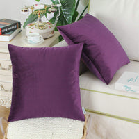 CaliTime Pack of 2 Cozy Throw Pillow Covers Cases for Couch Sofa Bed Solid Ultra Soft Gorgeous Velvety Faux Cashmere 20 X 20 Inches Deep Purple