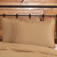 VHC Brands Burlap Pillow Sham Cover Standard Size with Fringed Ruffle Cotton Farmhouse Decor in Natural Tan 21x27