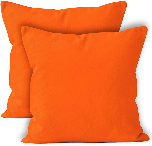 ENCASA Homes Throw Cushion Cover 2pc Set - Orange - 18 x 18 inch Solid Dyed Cotton Canvas Square Accent Decorative Pillow Case for Couch Sofa Chair Bed & Home