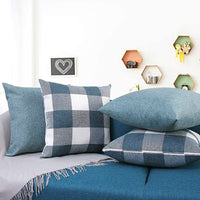 HYRIXDIRECT Set of 4 Throw Pillow Covers 18x18 Inch Decorative Square Throw Pillow Cases Solid Plaid Linen Pillowcase for Sofa Couch Bedroom Car Home Decor Decorations (Black)