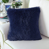 CaliTime Super Soft Throw Pillow Cover Case for Couch Sofa Bed Solid Plush Faux Fur 18 X 18 Inches Navy Blue