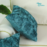 CaliTime Pack of 2 Cushion Covers Throw Pillow Cases Shells for Couch Sofa Home Solid Stereo Roses Floral 18 X 18 Inches Teal